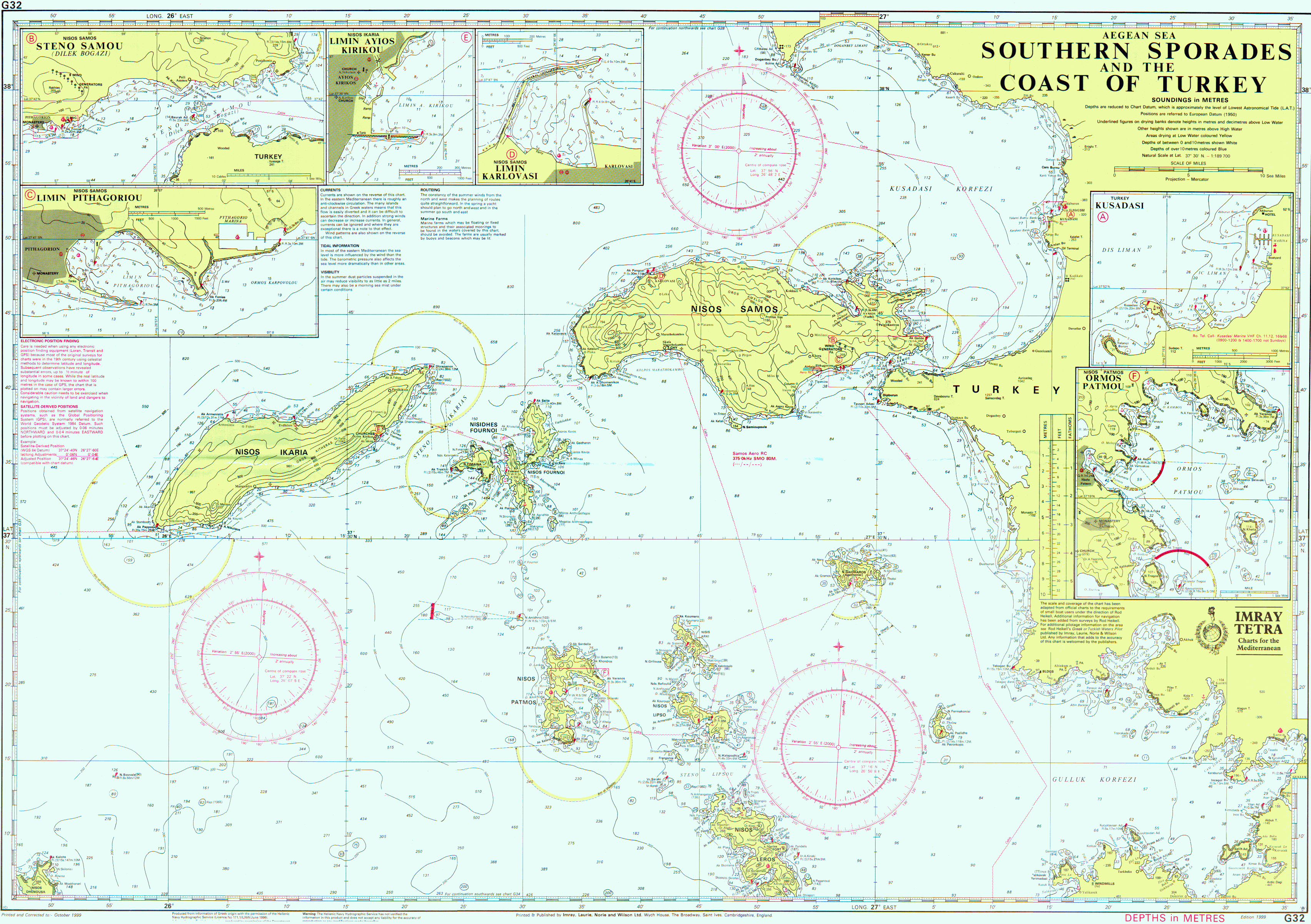 nautical chart of southern sporades and Turkey