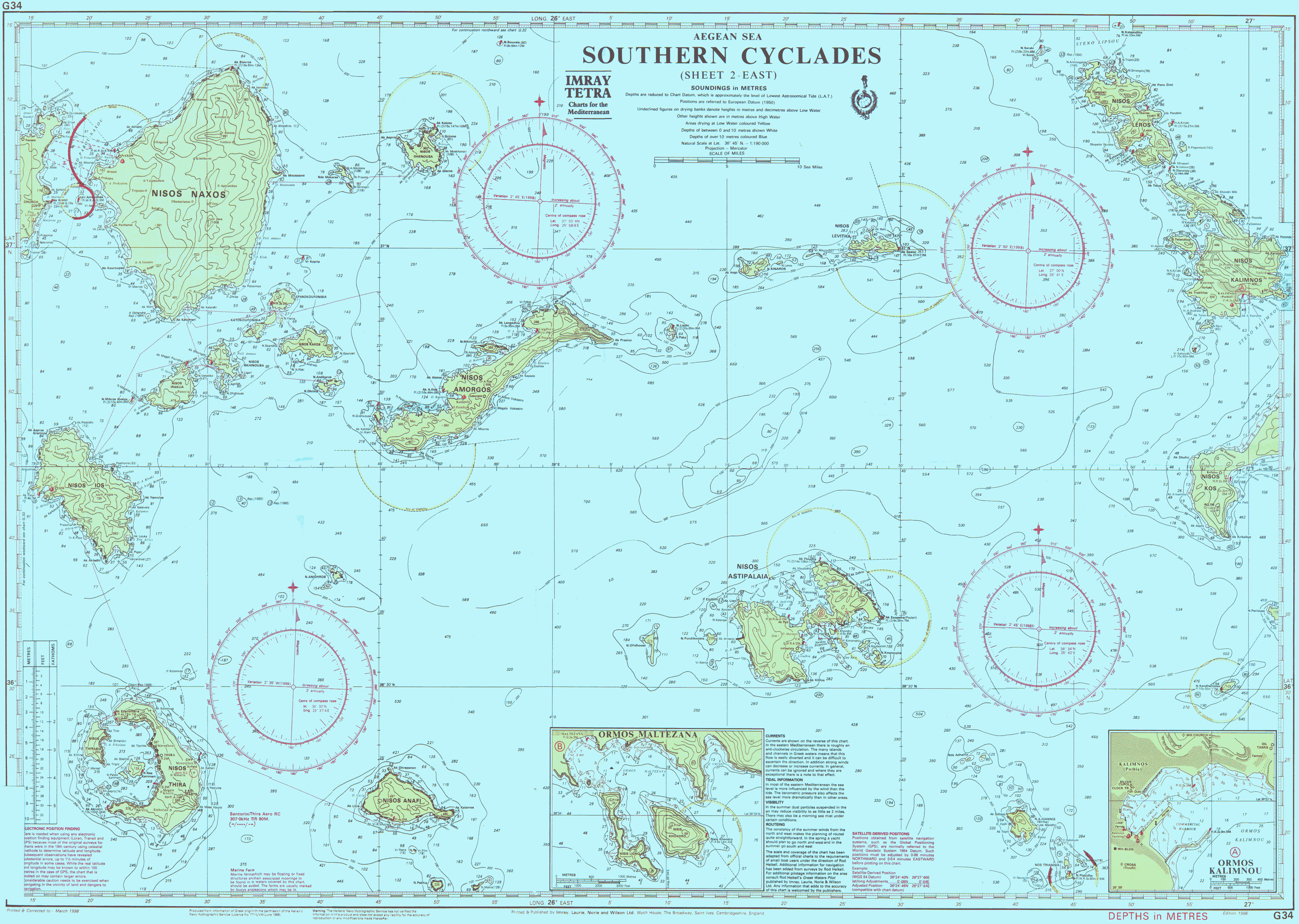 nautical chart of southern cyclades East