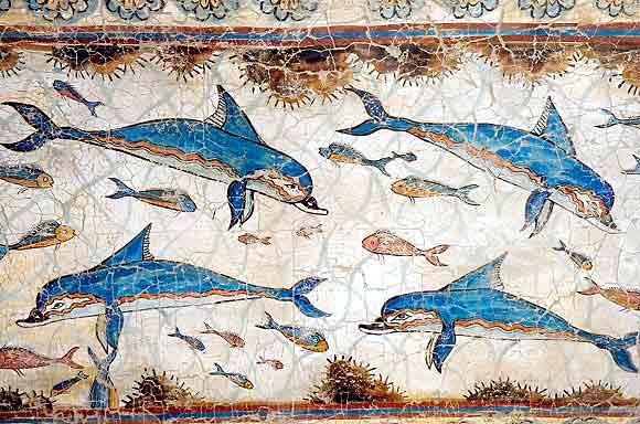 Wall painting of dolphins knossos palace for Ancient greek mural