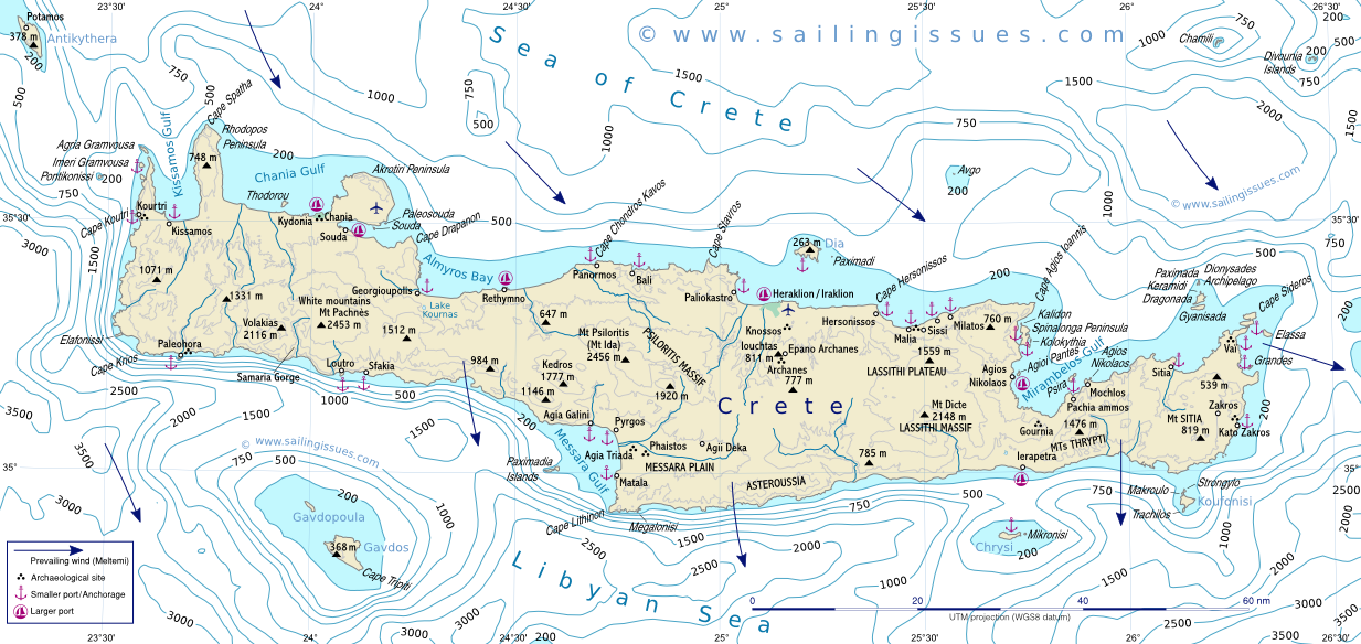 Crete maps for sailing holidays and yacht charters in Crete