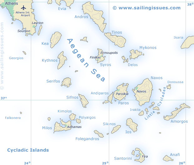 Sailing map of the Cyclades