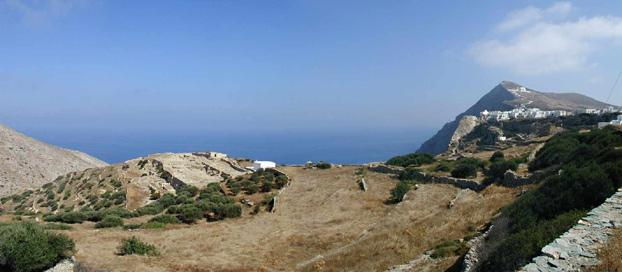 Chora of Folegandros at the top right of the photo looking east