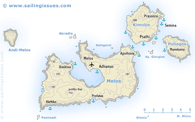 Sailing map of Milos Sailing holidays Greece and Yacht charters