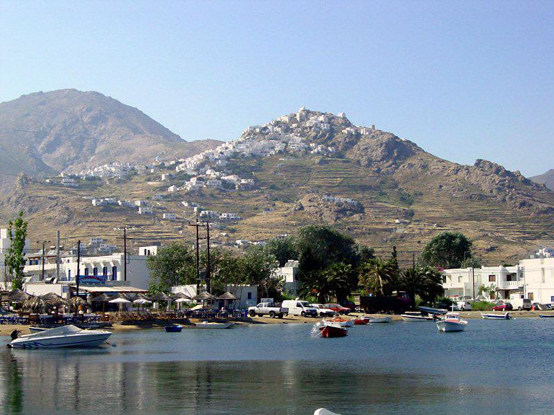 Serifos The Chora Seen From The Quay At Livadi Port