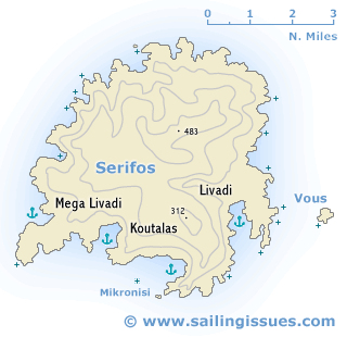 Serifos island Serifos maps and yacht charter guide for sailing