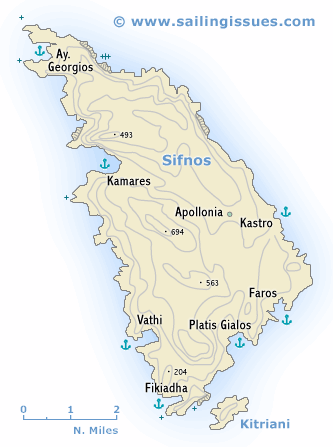 Sailing map of Sifnos