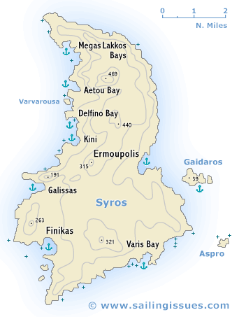 Sailing map of Syros
