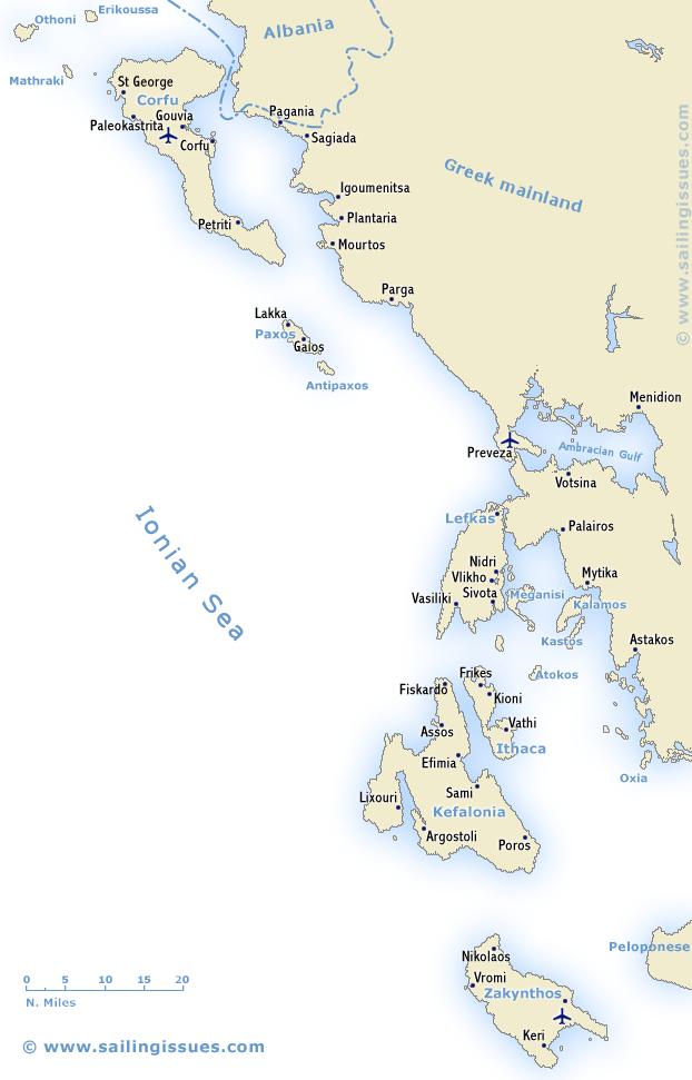 Ionian yacht charters guide sailing Ionian Sea Lefkas Corfu