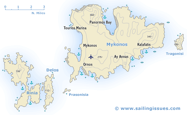 Sailing map of Mykonos Delos