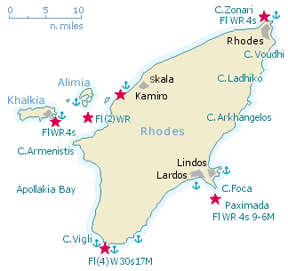 Rhodes sailing guide and yacht charters sailing holidays in Rhodes