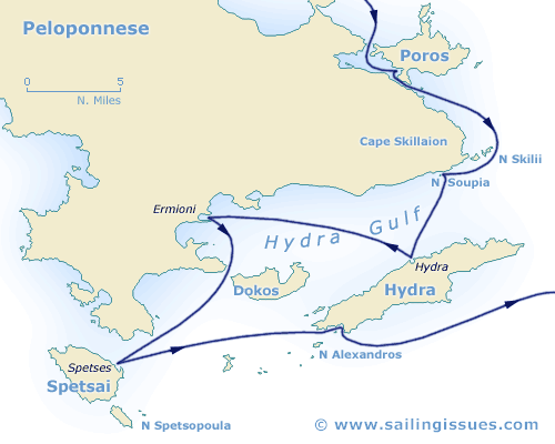 Map of Peloponnese, Saronic and Spetses with Poros and Hydra