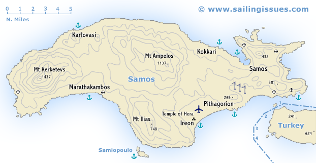 Samos island Samos maps for sailing holidays and yacht charters