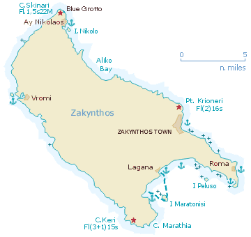 Sailing map of Zakynthos
