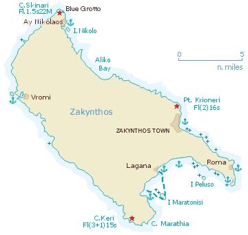 Sailing map of Zakynthos