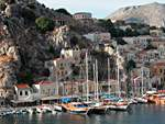 Symi port in the Dodecanese - Lots of Turkish gulets visits Greek waters too.
