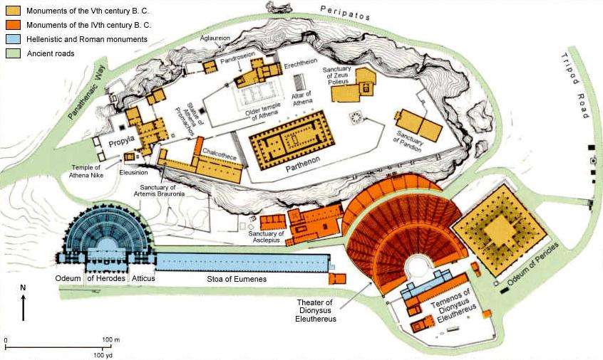 Map of the Acropolis Athens