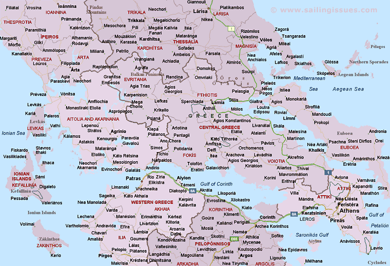 Of Central Greece - Greece map