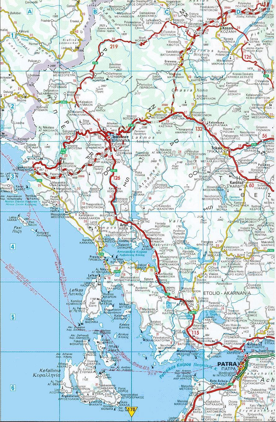Road map of Greece Lefkas Kefallonia Kefalinia Patra