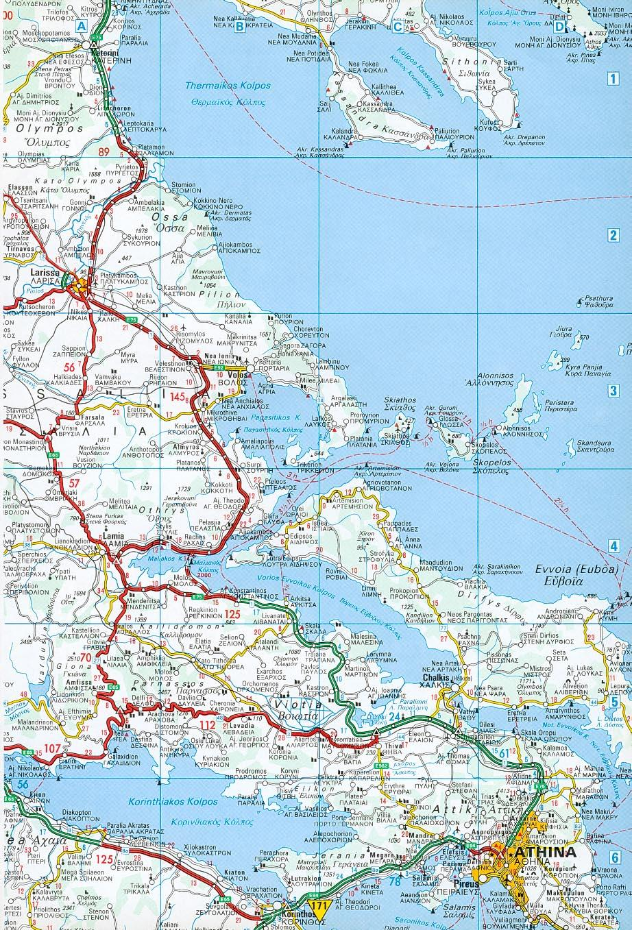 Road map Greece Athens Detailed Map Of Greece on