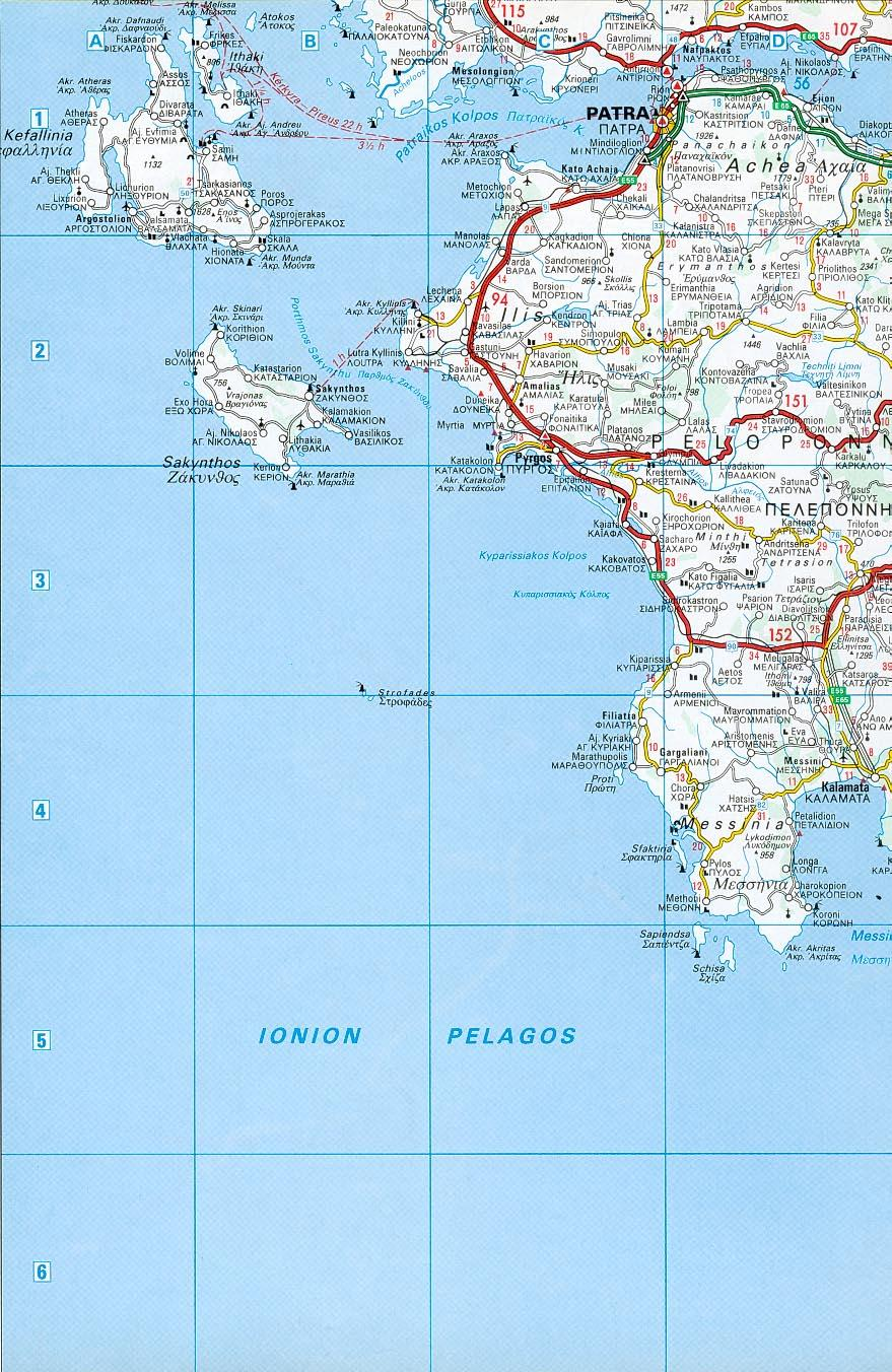 Road map Ionian Sea and Peloponnese