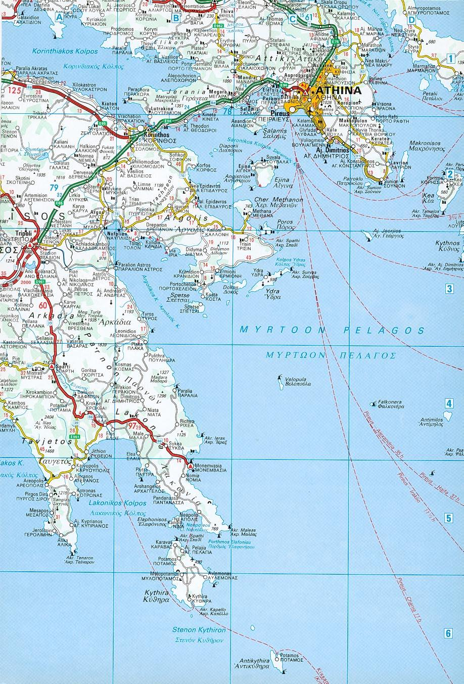 Map Of The Saronic And Argolic Gulfs Athens
