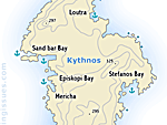 Map of the stunning island of Kythnos Kithnos