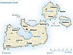 Map of Milos Melos and surrounding islands