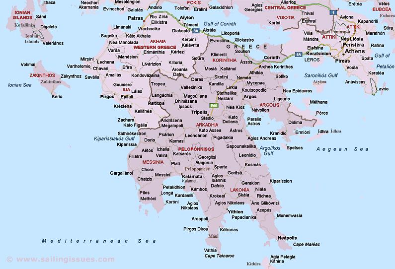 Map of Peloponnese Greece